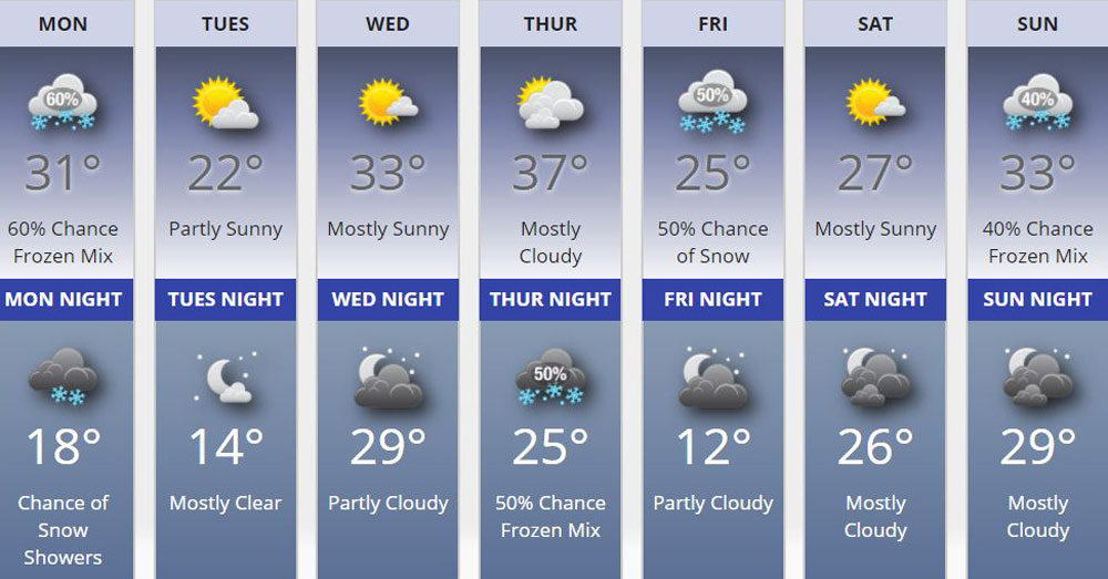 weather forecast january 29