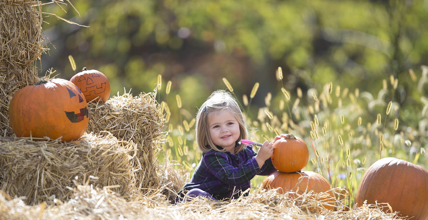 Girl enjoying the pumpkin patch