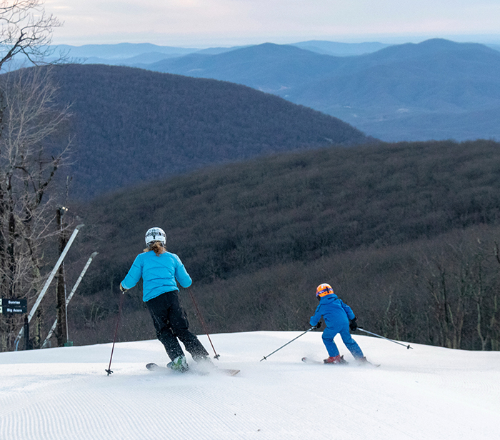mother son skiing at wintergreen
