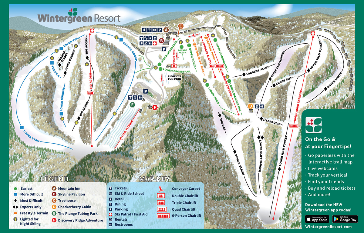 Skiing Virginia Map.Slope Report