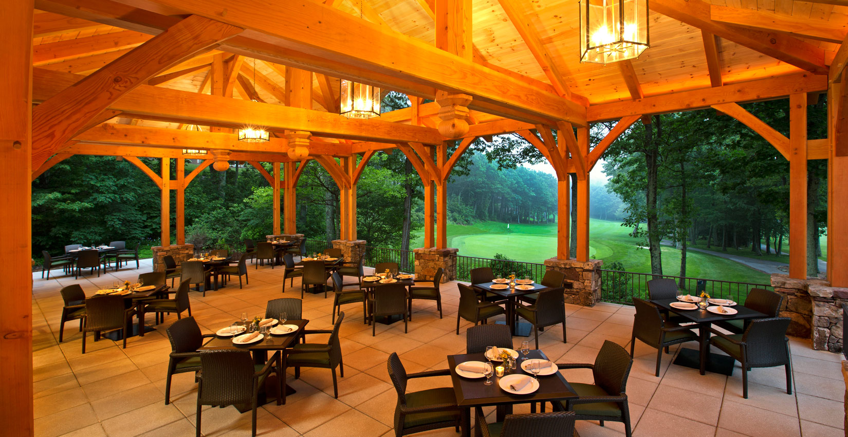 Summer Outdoor Dining on that Patio at Devils Grill at Wintergreen Resort