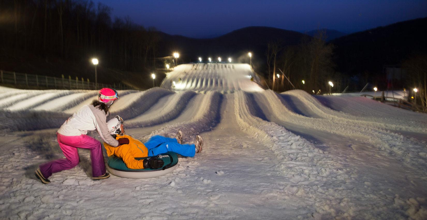 Blue Ridge Mountain Family Snow Tubing Fun at Wintergreen Resort